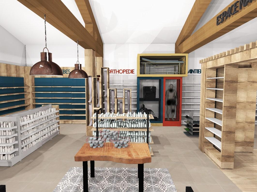 meuble marqueur pharmacie parapharmacie bois mobilier aménagement design agencement intérieur-min
